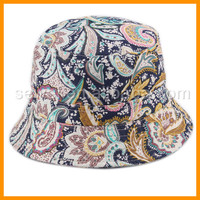 Top Quality Flower Printed Fashion Ladies Hats cloche hat 2016