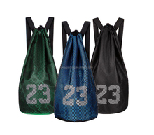 new arrival portable durable stylish 600D polyester drawstring backpack for sports with mesh layer outside