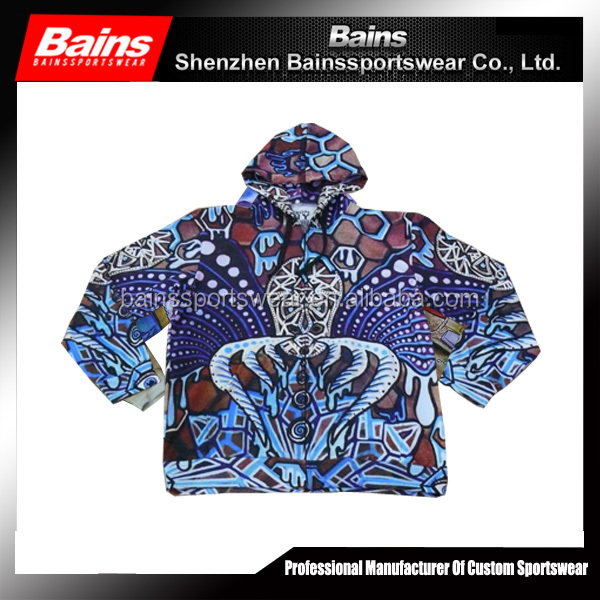 100% polyester sublimation heavy fleece hoodie with different color