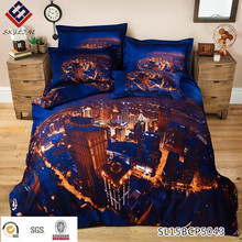 3D canvas bed cotton European/American city night sky stereo painting bedding set