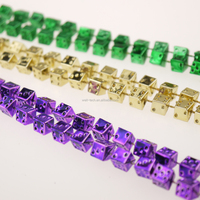 Party Beads Manufacture Metallic Dice Beads MOT Mardi Gras beads