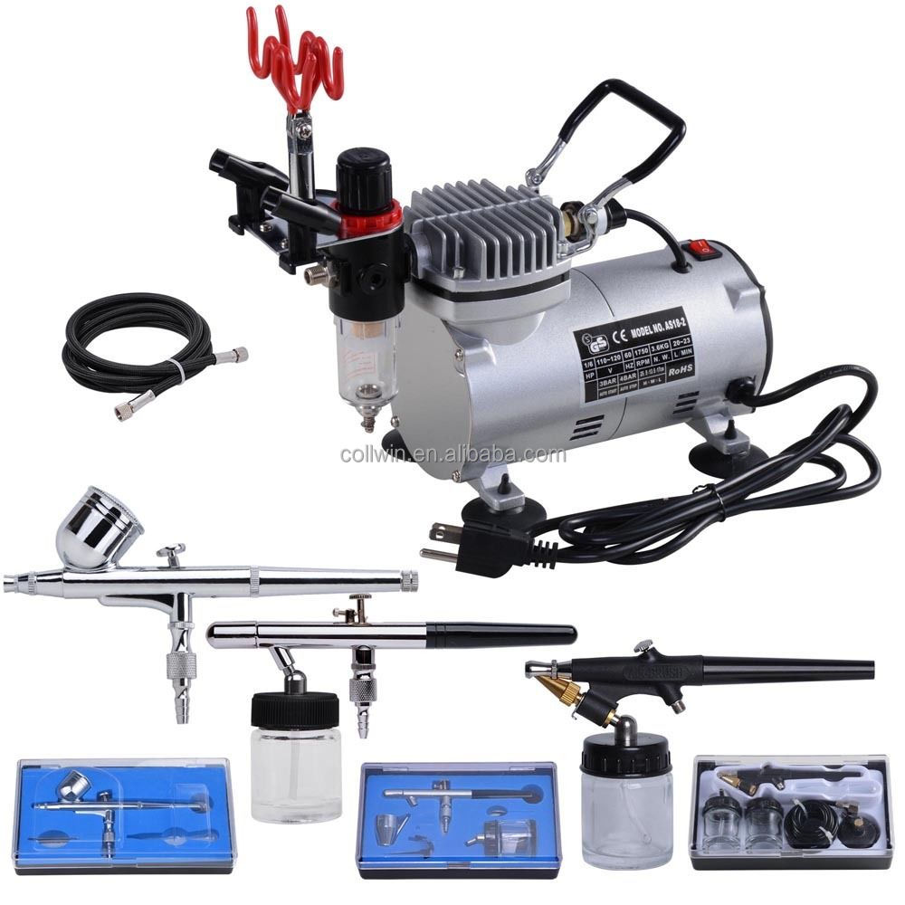 3 airbrush compressor kit dual action spray air brush set. Black Bedroom Furniture Sets. Home Design Ideas