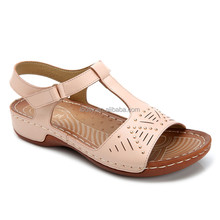 Latest Hot selling cheap pu outsole pink indian leather sandals wholesale