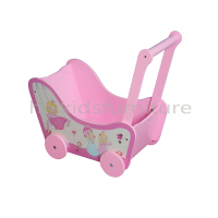 75x34x(H)56.5cm Wooden Pink Color Princess Baby Doll Stroller For Little Girls, New Design Wooden Doll Pram, High Safety Toys