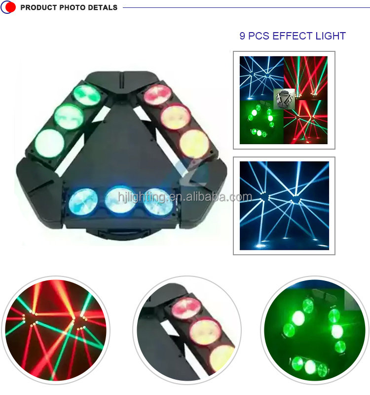 New hot sale stage lighting equipment 9*10W RGBW 4IN1 LEDs beam spider moving head light for sale