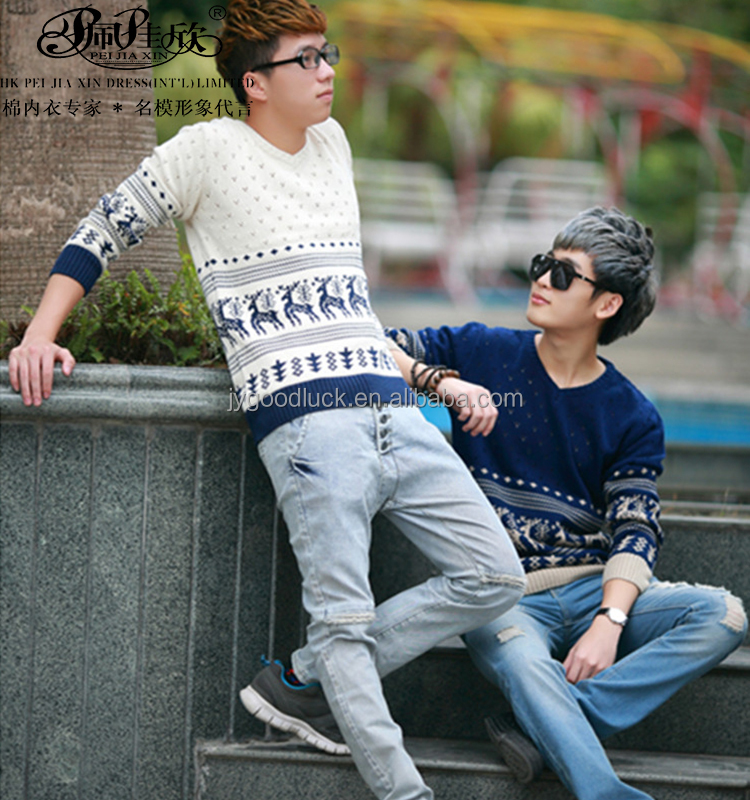 2016 Peijiaxin New Fashion Design Casual Style Fawn Pattern V-neck Men's Knit Sweater
