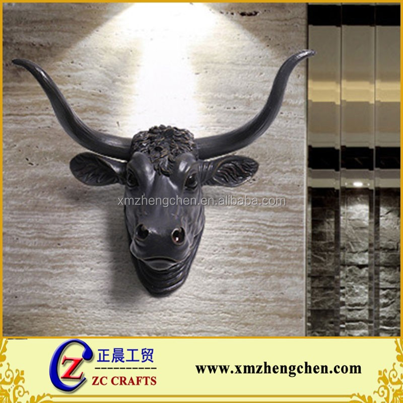 Decorative wall mount bull head resin animal head wall hanging