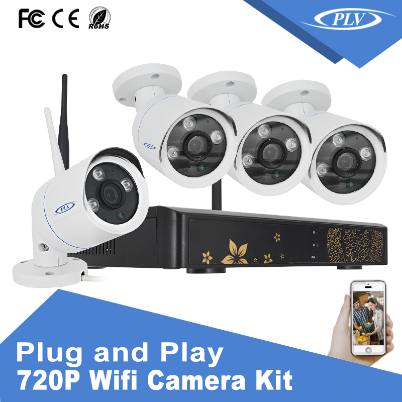 cctv security recording system kit long range 4 channel 720P wireless cctv camera system with 15fbs video