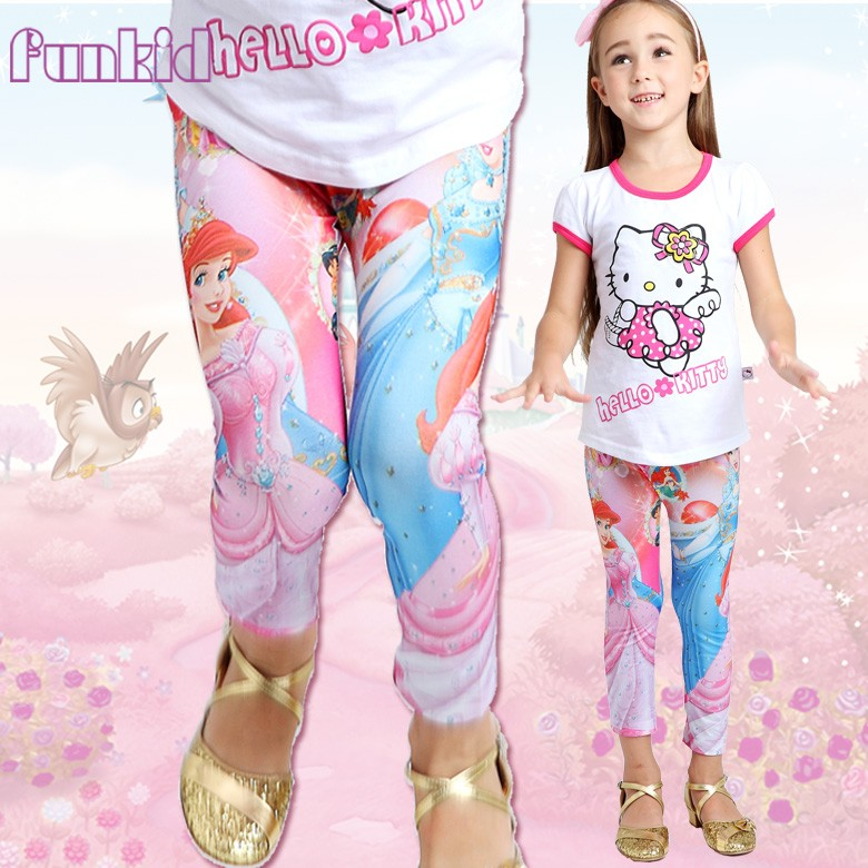 soft material cartoon princess printed leggings for school girls wholesale