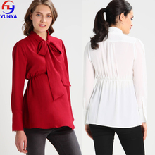 Fashion wholesale clothing plus size long sleeve pussy bow maternity clothes pregnant women blouses and shirt