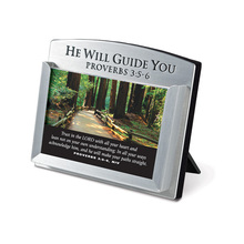 Christian Products He Will Guide You Metal Scripture Card Holder