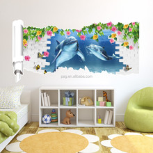 Dolphin 3D Wall Sticker wallpaper home Decor Cartoon decorative painting
