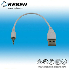 PVC material aux converter usb to 3.5mm jack plug cable