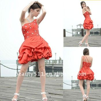 Astergarden Real Photo One Shoulder Beading Red Short Prom Cocktail Dress AS127