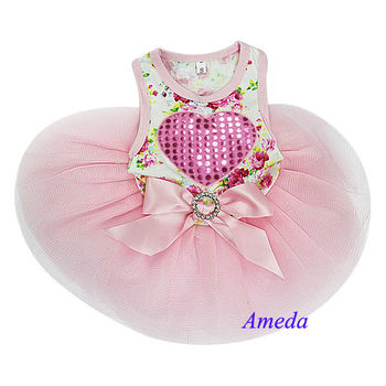 White Light Pink Rose Flower Heart Crystal Party Dress Small Pet Dog Clothes XS-L