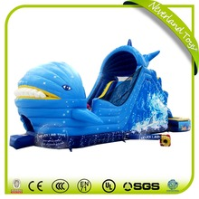 Funny NEVERLAND TOYS High Quality Blue Dolphin Cartoon Inflatable Water Pool Slides Prices For Kids