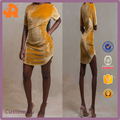OEM wholesale yellow short sleeve velvet dress,fashion ladies slim dress