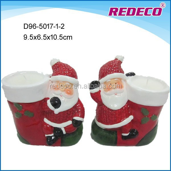 Ceramic handmade xmas santa&snowman present with candle