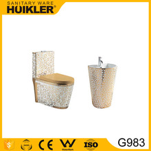 G983 Luxury bathroom life golden color toilet set gold dragon toilet basin manufacture in China