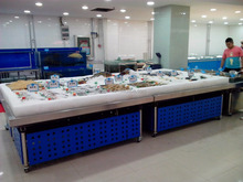 APEX custom make commercial supermarket restaurant stainless steel fresh frozen red shrimp display table