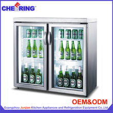 Mini display cooler 2 doors counter top beer cooler display freezer supermarket open display fridge for drinks made in Guangzhou