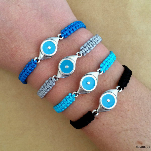 Fashion Enamel Evil Eye Silver Plated Izou Charm Macrame Friendship Bracelet Lucky Eye Bracelet