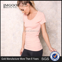 Top 10 Fashion Brand Peach Pima Cotton Tee Shirt For Women Cheap Price Basic Scooped Tops