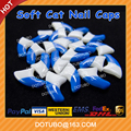 Double Colour Blue & White Soft Silicon Cat Nail Caps /Pet Nail Protector /Cat Nail Cover With Free Glue And Applictor