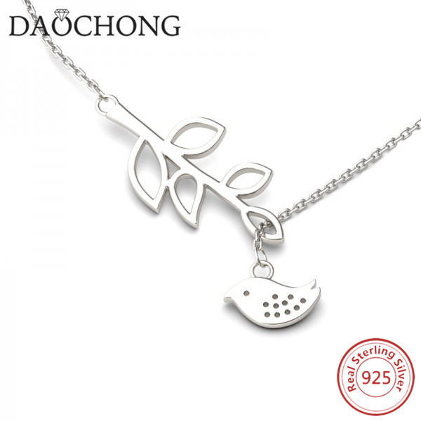 fashion design 925 sterling silver leaf and bird pendant necklace