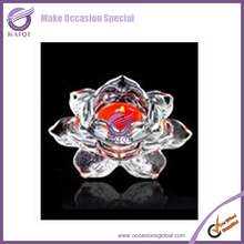 K4573 Tall Lotus Flower Artificial Shape Crystal Candle Holer Wholesale For Wedding Centerpiece