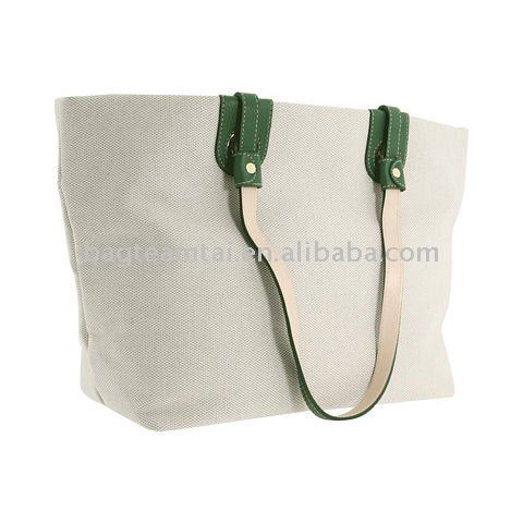 East/west-style shopper made of canvas with leather trim