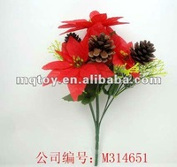 7 heads christmas flower with pine cone christmas toy pary toy commodity & craft toy