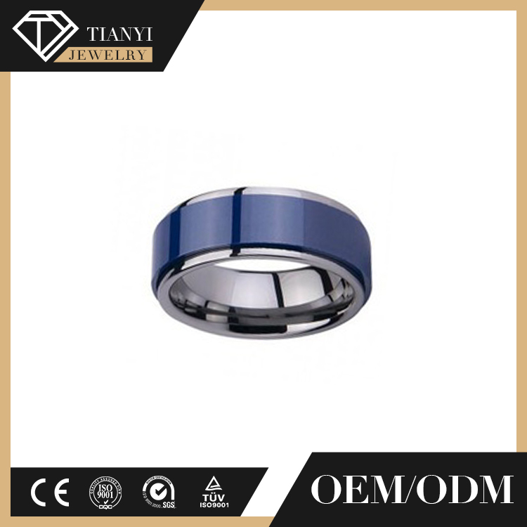 Customized high polished gold jewelry mens engagement wedding tungsten carbide ring