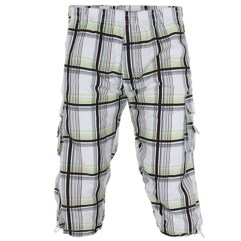 mens capri cargo pants 3/4 checks pants