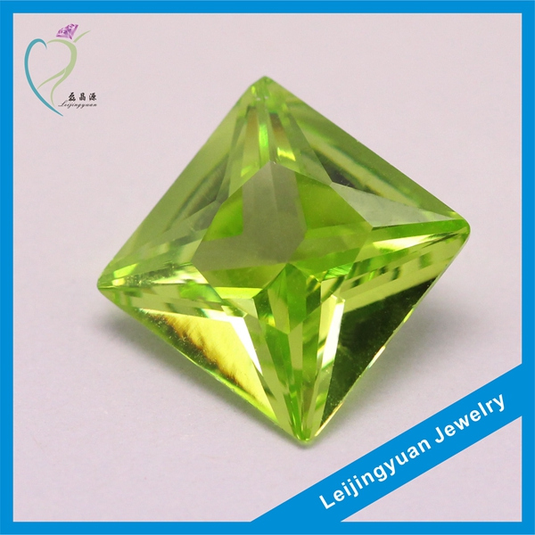 Low price apple green square cut synthetic stones cubic zirconia