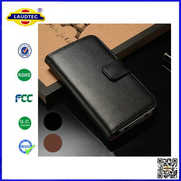 Brand New Folio Luxury Genuine Leather Flip Stand Case for HTC One M8 Mini -Laudtec