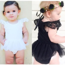 2017 new summer baby girl romper princess black white lace romper newborn baby clothes jumpsuit lovely comfortable romper