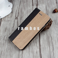 5.5 inch Wallet PU Leather Wooden Flip Folio Case with Strong Magnetic Wood Grain Protective Cover for iPhone 5SE 6 6S Plus