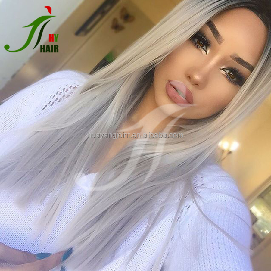 2T Natural Color and Grey Ombre Human Hair Lace Front Wig Peruvian Virgin Grey Full Lace Wig with Baby Hair for Black Women
