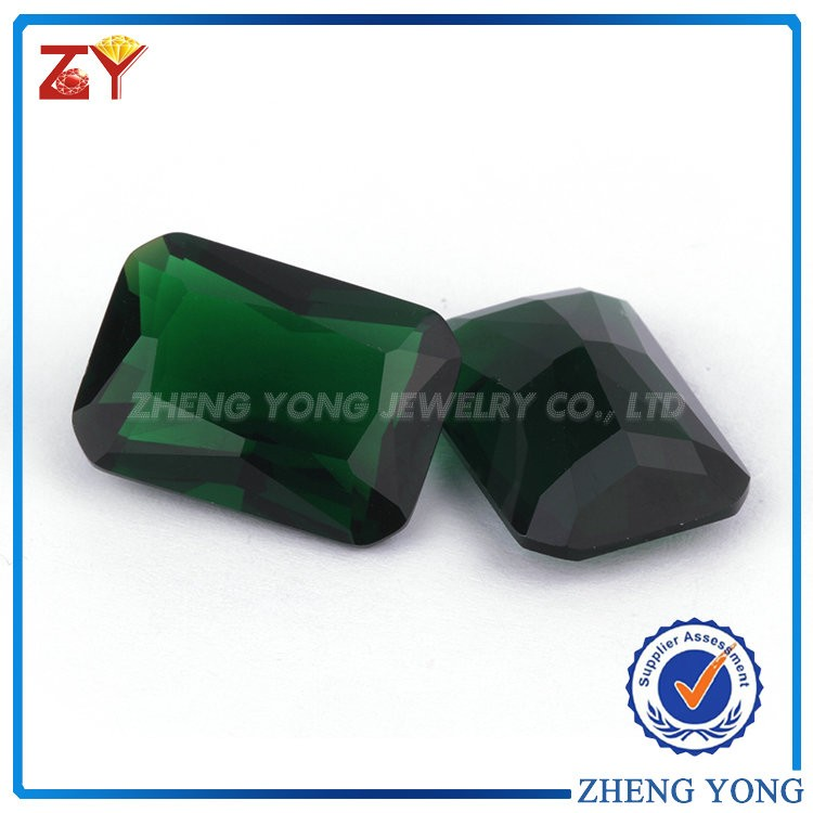 Factory Cheap Price Rectangle Octagon Cut Green Glass Gem Stones