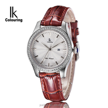 luxury leather band sapphire glass IK Colouring crystal wrist watch
