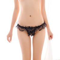 Sexy Lace G String Women Open Crotch Pearl Thong Tanga Panties Briefs Hot Erotic Underwear Calcinha Transparent Lingerie Cueca