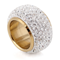 18K Gold plated 7 Row Crystal Stainless Steel big finger rings for woman