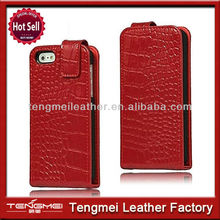 Fancy Cell Phone Cases For iPhone 5 5,Leather Flip Case Red Crocodile Style For iPhone 5 5S