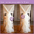 BS00152 Hot selling off white chiffon curly willow chair sash