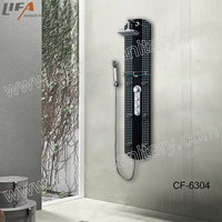 Thermostatic Waterfall shower Black Temperede glass shower panel CF-6304