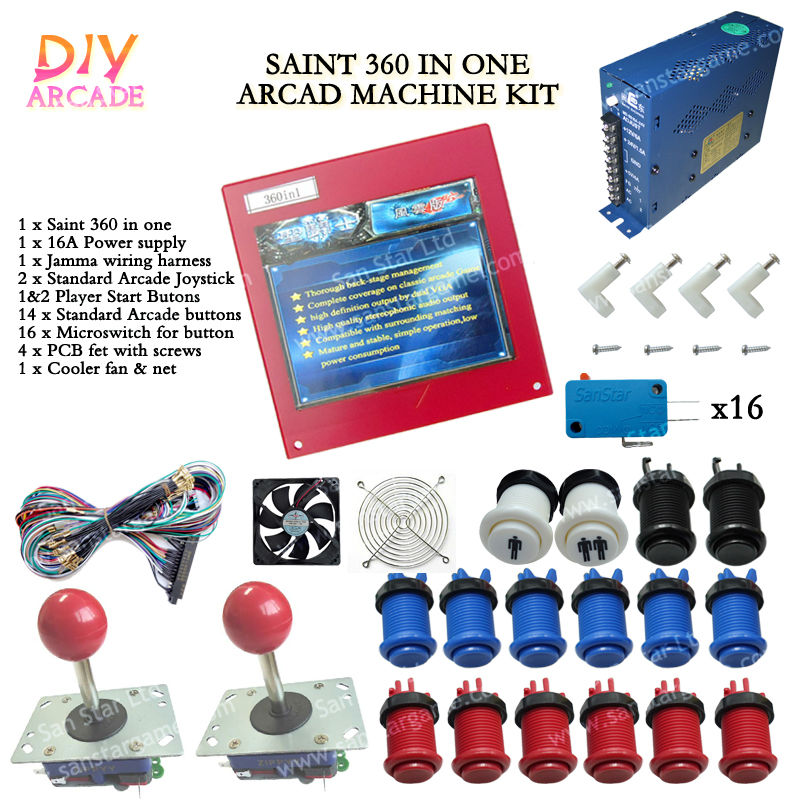 New Arcade DIY Accessories Saint 360 In One + 16A Power supply + 16x Button + 2 Joystick For Arcade MAME JAMMA Games DIY 2Player