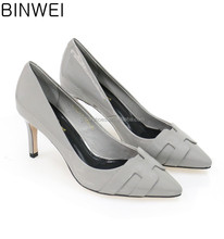 Retailer hot selling grey color fashion ladies high heels cow patent leather material size #35-40 heel height 5cm lady shoes