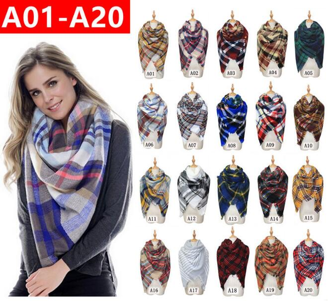HOT!!! Personalized 60 color stole Square Oversized Plaid Blanket Scarf Tartan women cashmere scarf