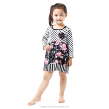 One Piece Girls Party Dresses in Black White Polka Dot,Floral Girls New Cotton Dress